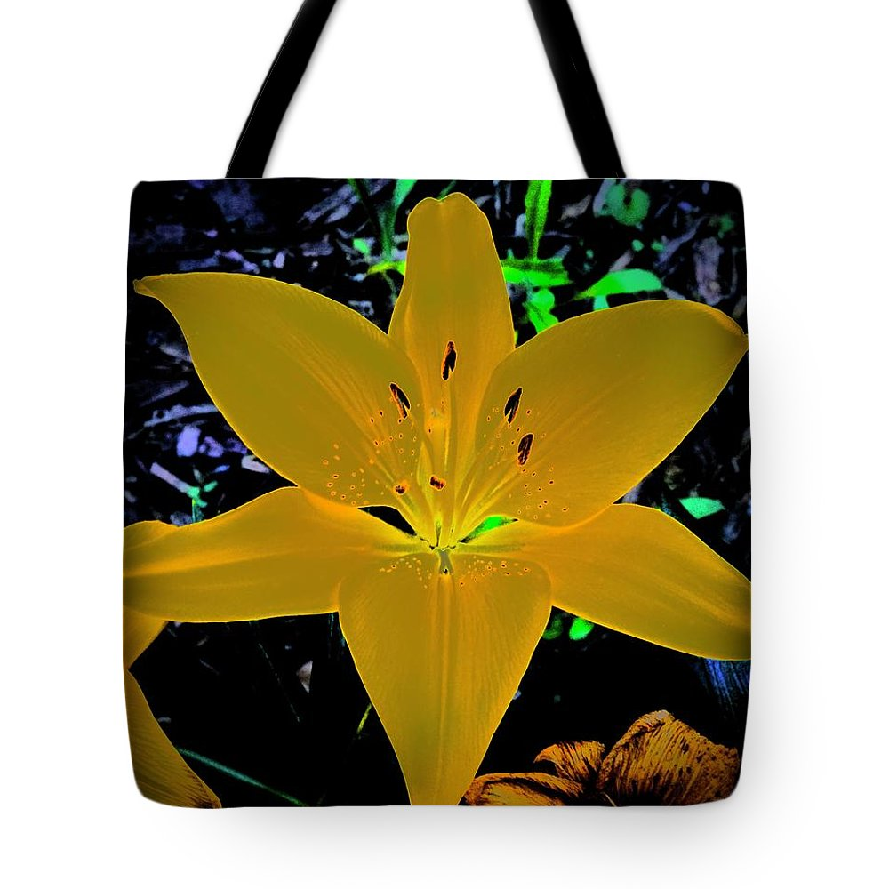 Lily Tote Bag featuring the photograph Night Glow Lily by Tim G Ross