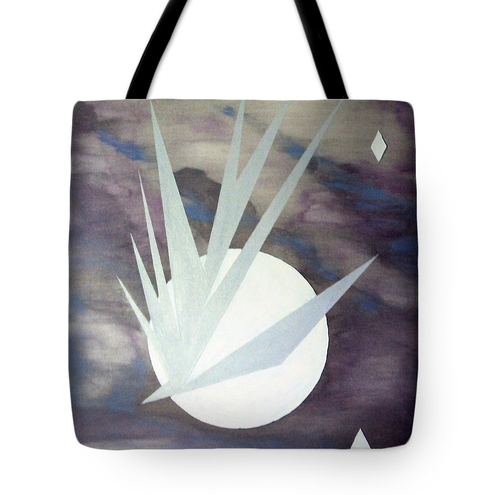 Moon With Hawke And Diamond Stars Tote Bag featuring the painting Night Hawke 2 by J R Seymour