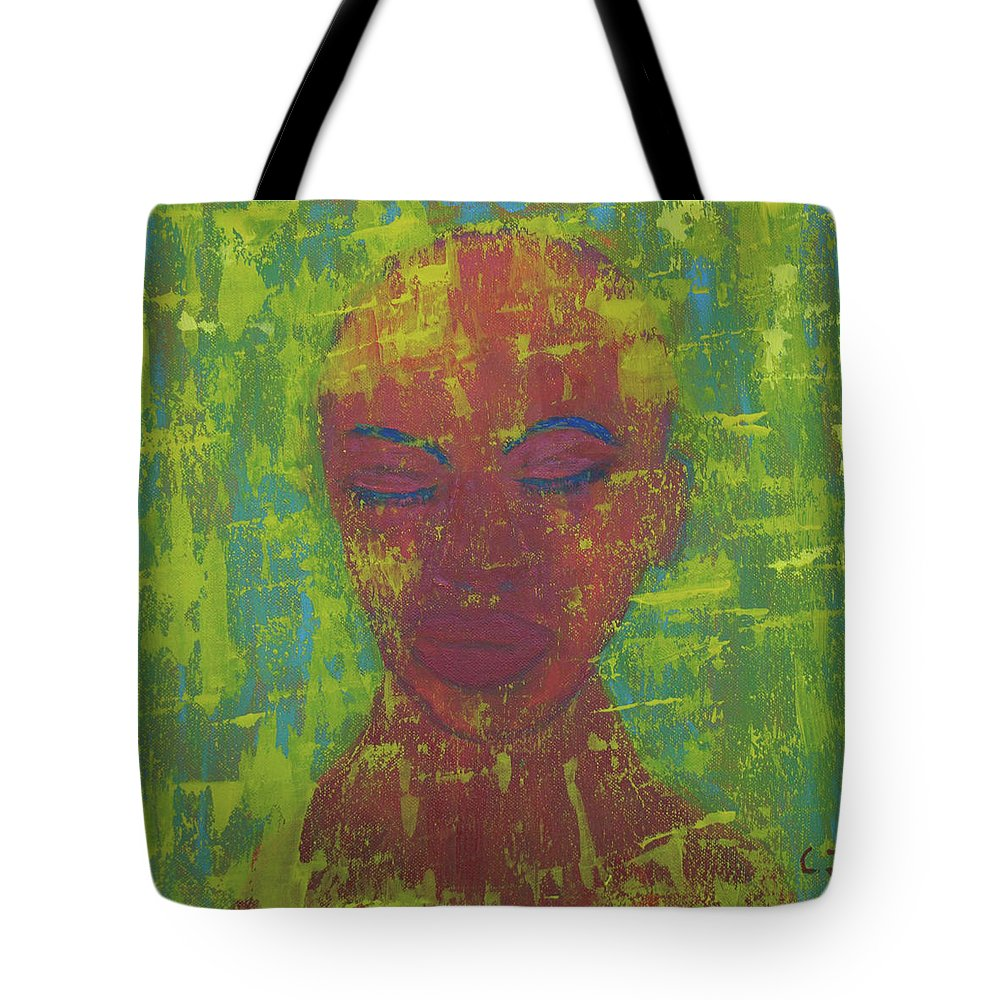 Portrait Abstract Tote Bag featuring the painting Night by Crina Iancau