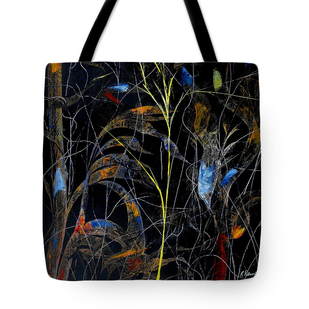Abstract Tote Bag featuring the painting Night Life by Ruth Palmer