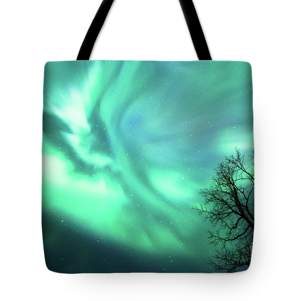 Aurora Borealis Tote Bag featuring the photograph Night Lights by Lori Dobbs