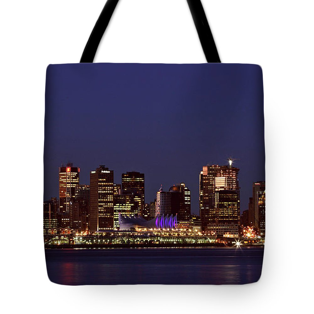 Night Tote Bag featuring the digital art Night Lights Of Downtown Vancouver by Mark Duffy