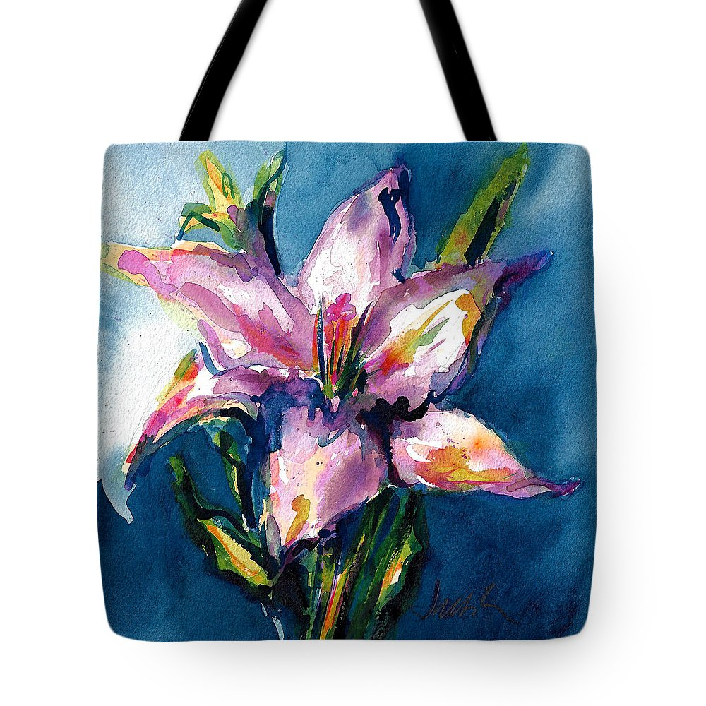 Pink Lily Tote Bag featuring the painting Night Lily by Jacki Kellum