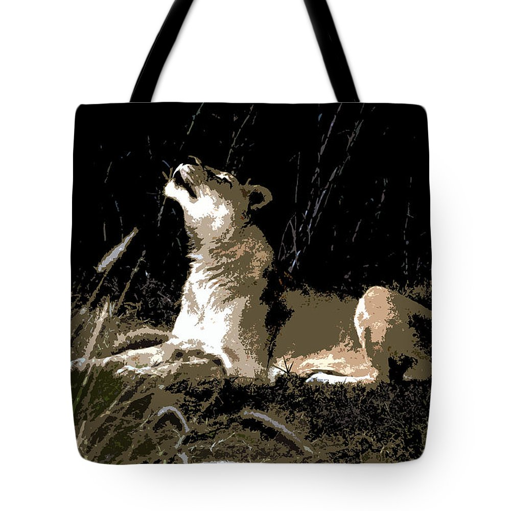 Lion Tote Bag featuring the painting Night Lioness by David Lee Thompson