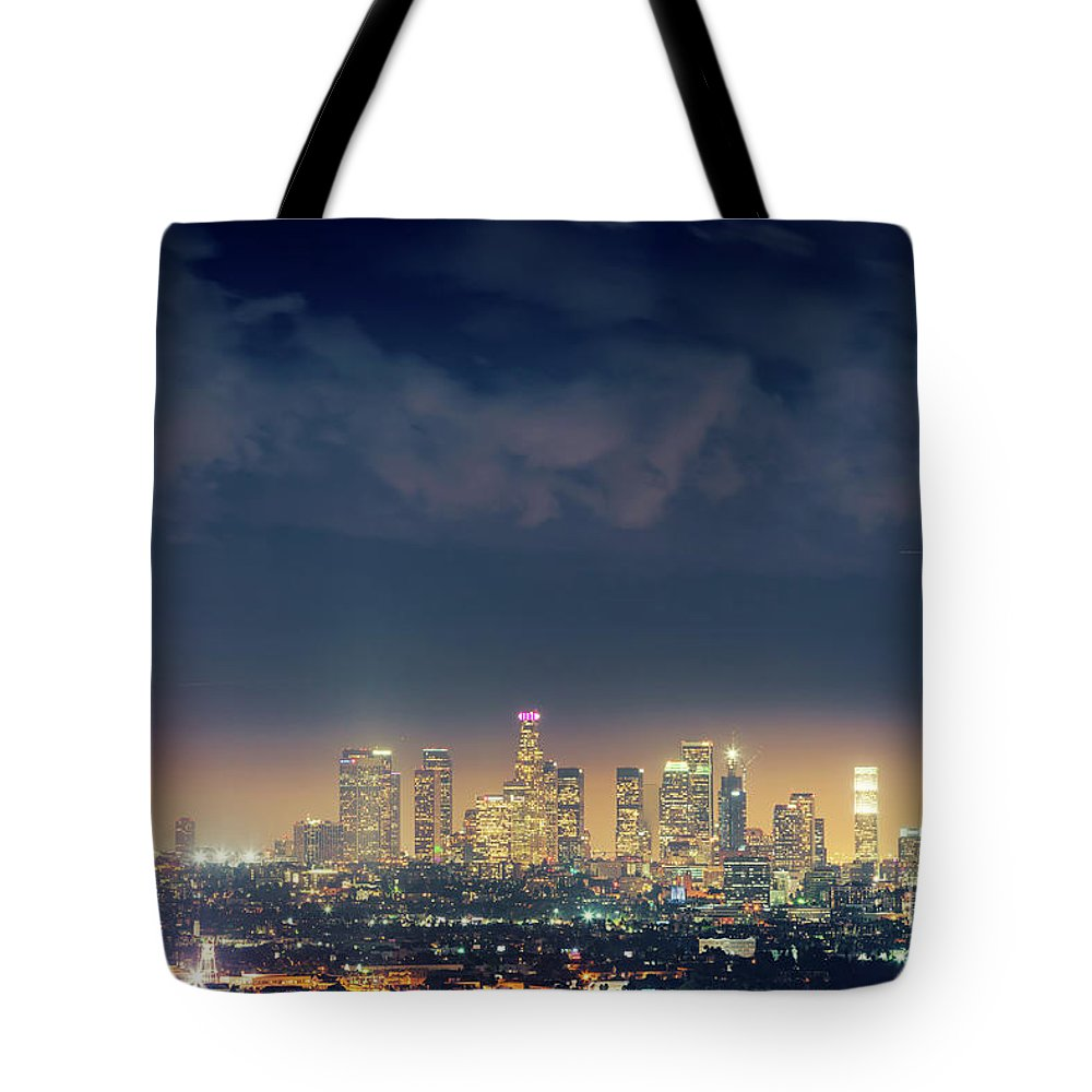 Los Tote Bag featuring the photograph Night Los Angeles Skyline by Konstantin Sutyagin