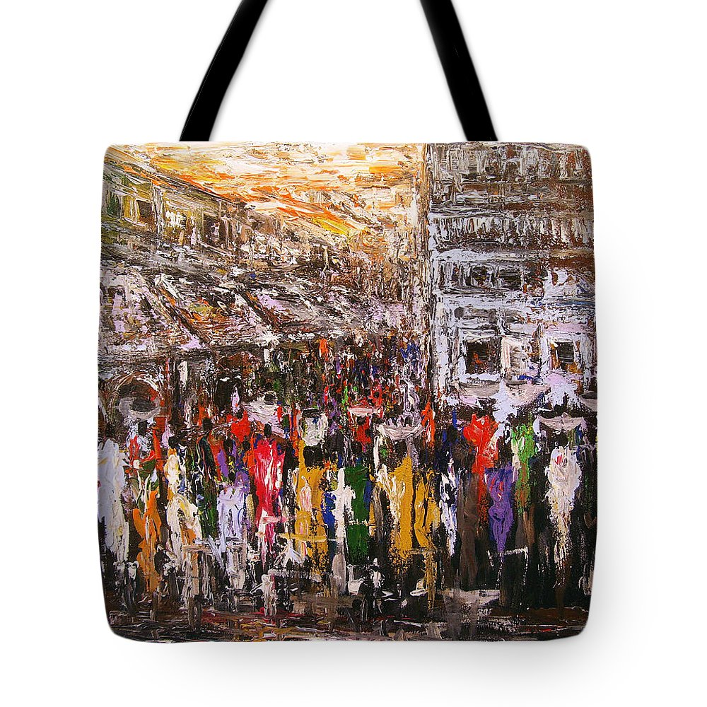 Nii Hylton Tote Bag featuring the painting Night Market by Nii Hylton