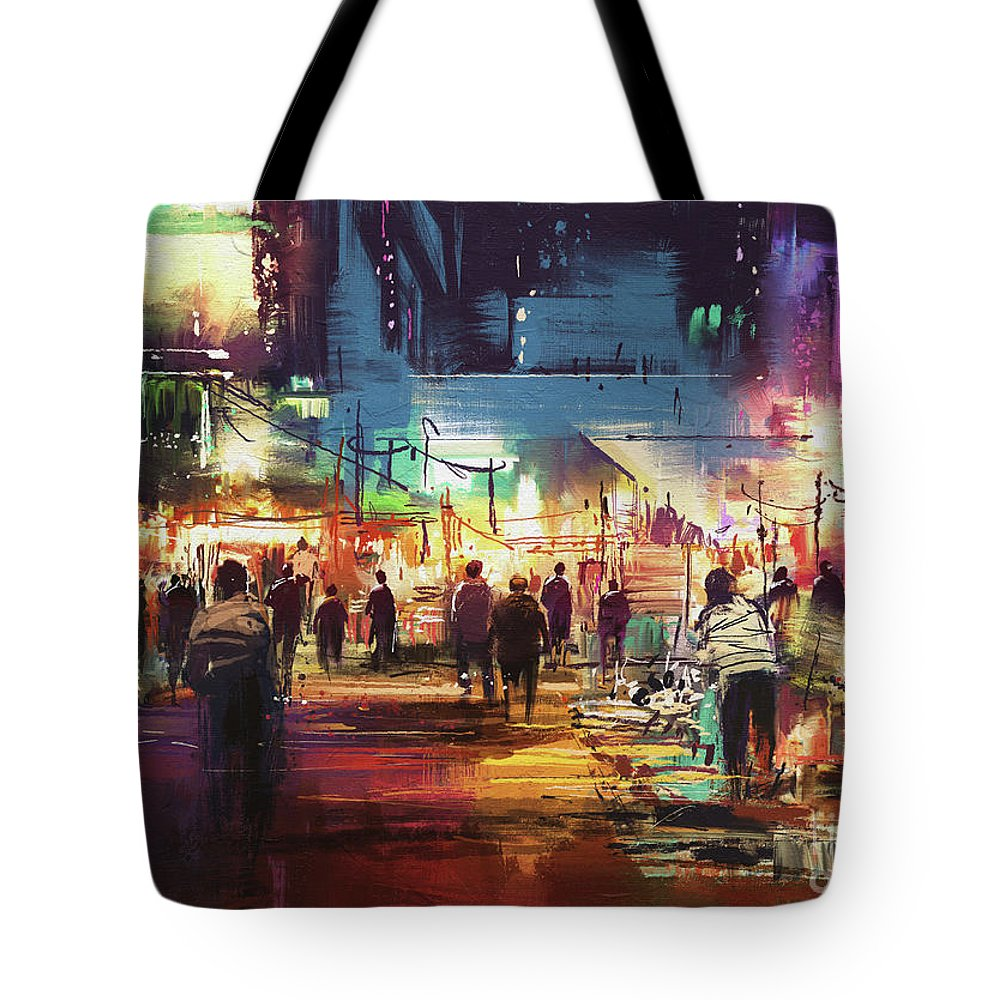 Abstract Tote Bag featuring the painting Night Market by Tithi Luadthong