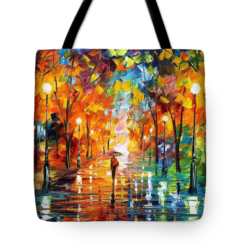Afremov Tote Bag featuring the painting Night Mood In The Park by Leonid Afremov