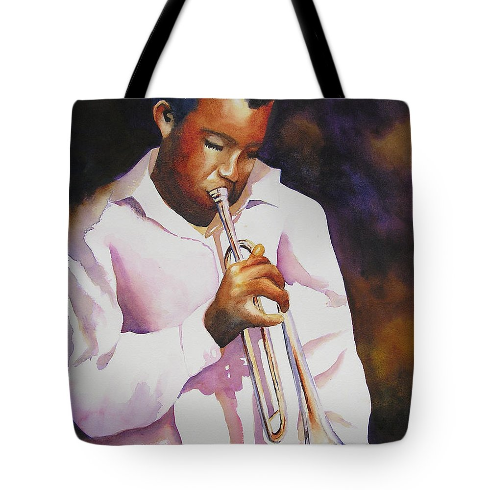 Trumpet Tote Bag featuring the painting Night Music by Karen Stark