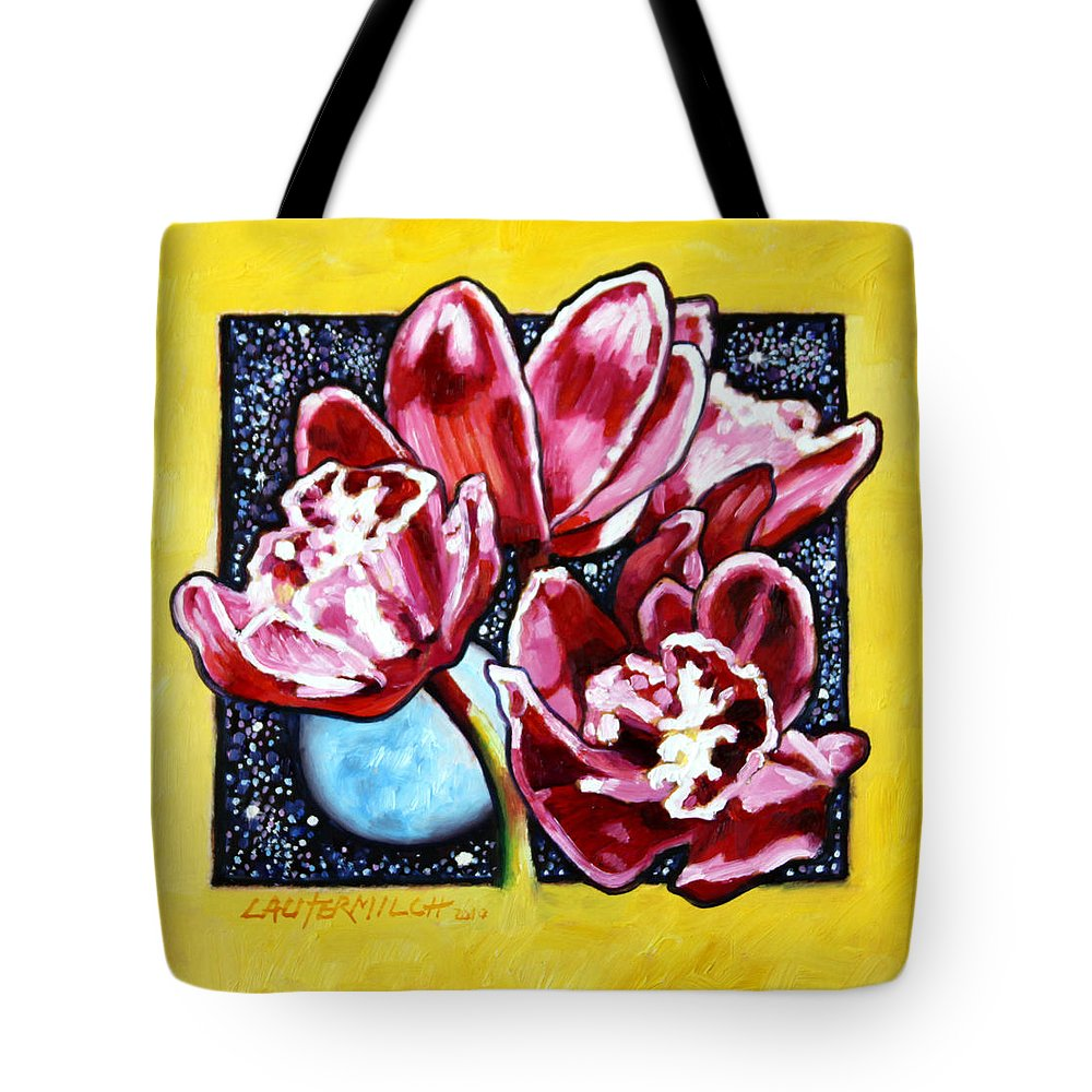 Red Orchids Tote Bag featuring the painting Night Orchids by John Lautermilch