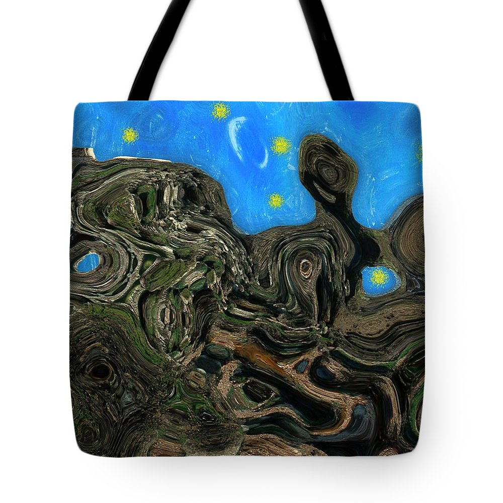 Abstract Tote Bag featuring the painting Night Petrified by RC DeWinter