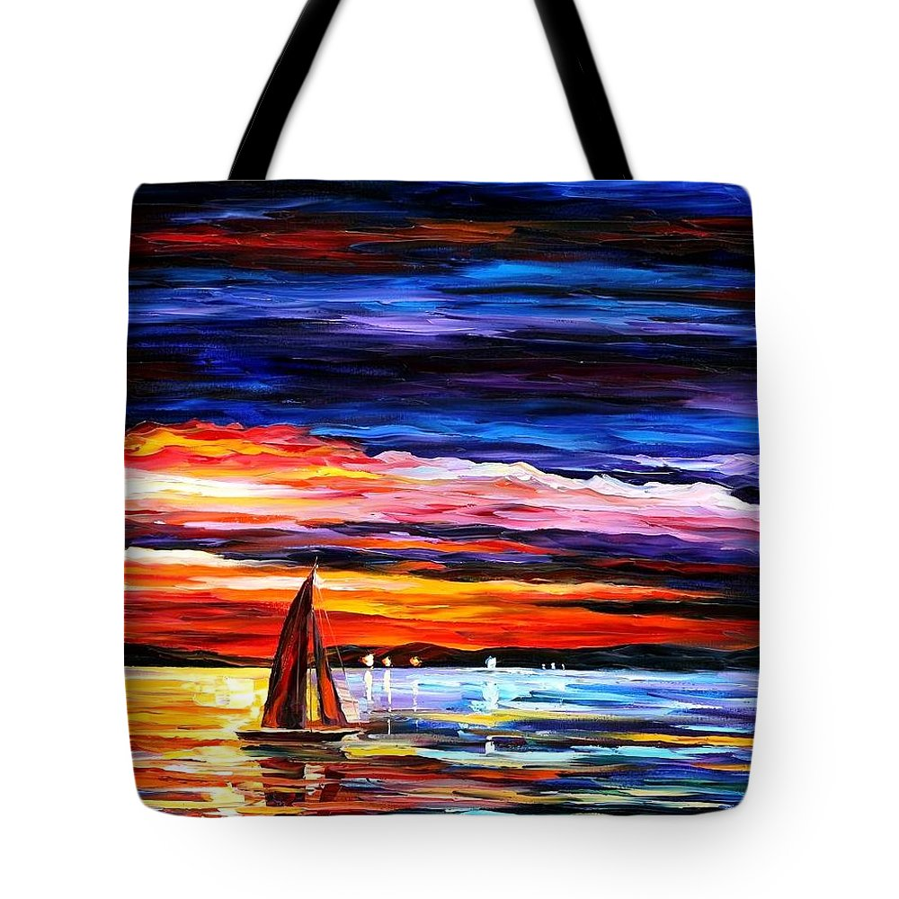Seascape Tote Bag featuring the painting Night Sea by Leonid Afremov