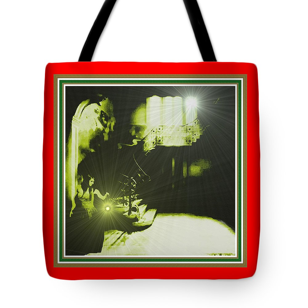 Announcement Tote Bag featuring the painting Night Search No. 14 H B With Decorative Ornate Printed Frame. by Gert J Rheeders