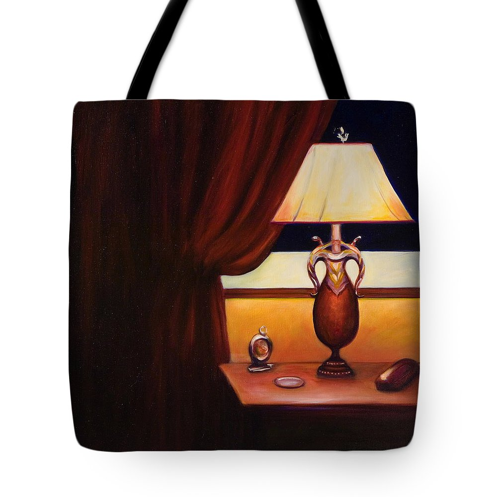 Still Life Red Tote Bag featuring the painting Night by Shannon Grissom