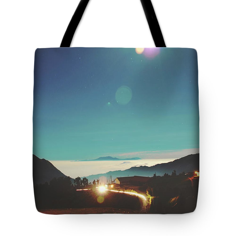 Altitude Tote Bag featuring the photograph Night Sky Around Mount Bromo In Java, Indonesia by Srdjan Kirtic