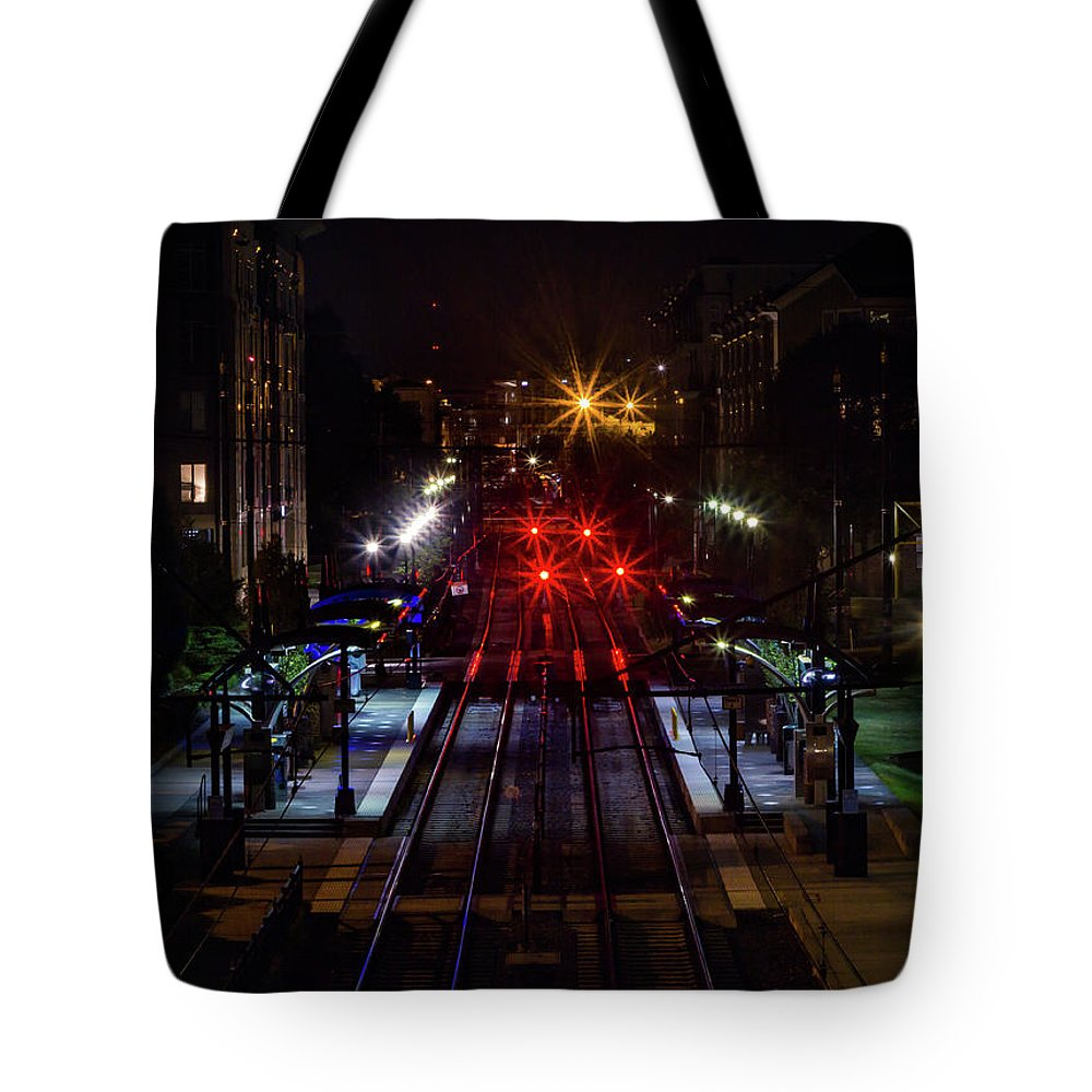 Train Tracks Tote Bag featuring the photograph Night Tracks by Ant Pruitt