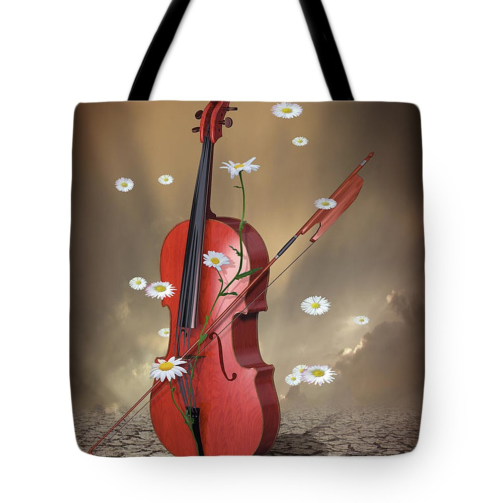 Violin Tote Bag featuring the digital art Night Vibes by Mihaela Pater