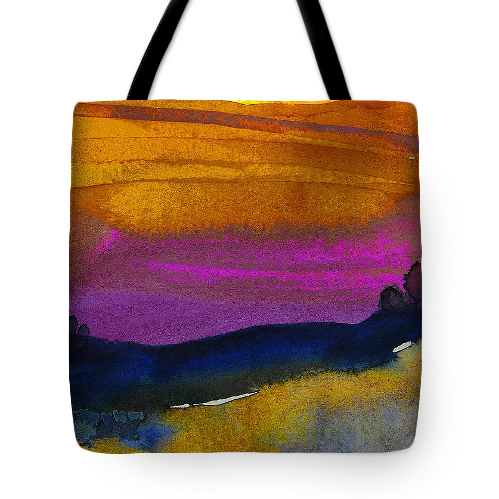 Watercolour Tote Bag featuring the painting Nightfall 04 by Miki De Goodaboom