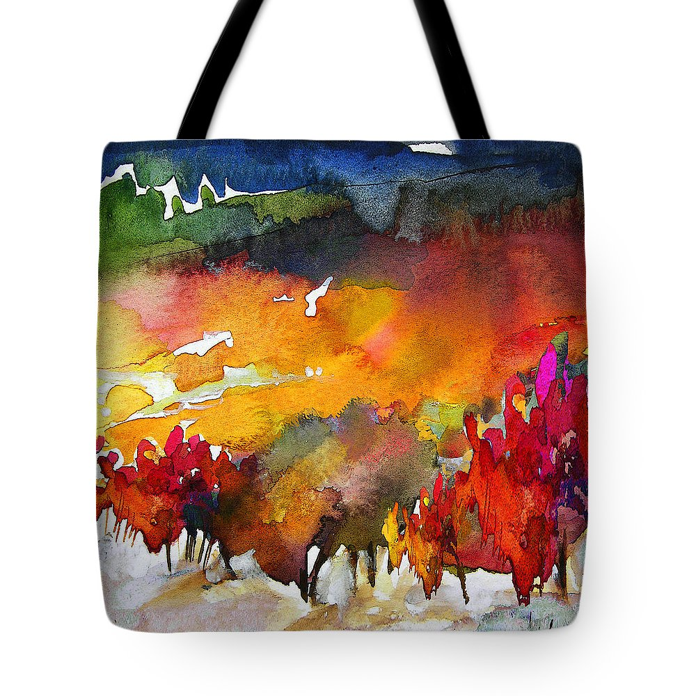 Watercolour Tote Bag featuring the painting Nightfall 06 by Miki De Goodaboom
