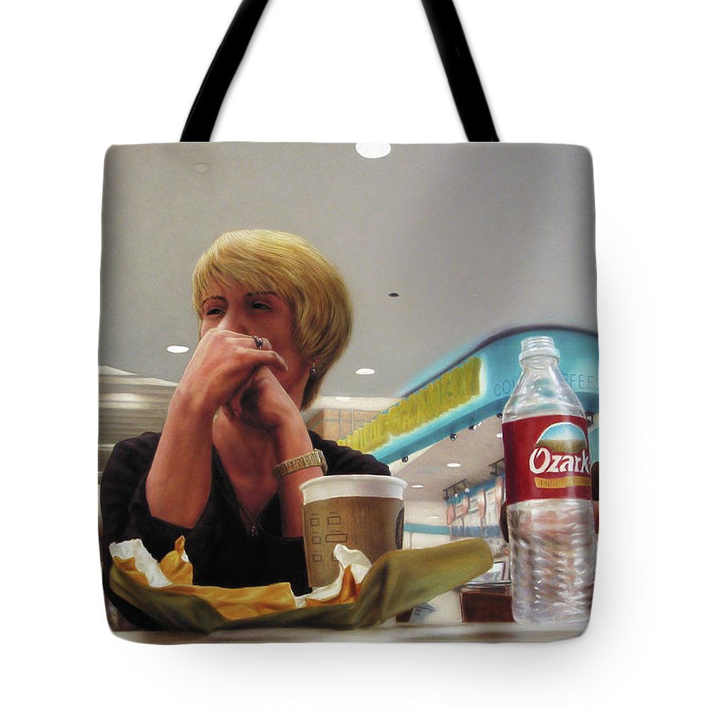Restaurant Tote Bag featuring the painting Nighthawks At The Foodcourt by James W Johnson