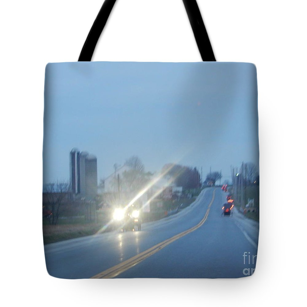 Amish Tote Bag featuring the photograph Nightime Travel by Christine Clark