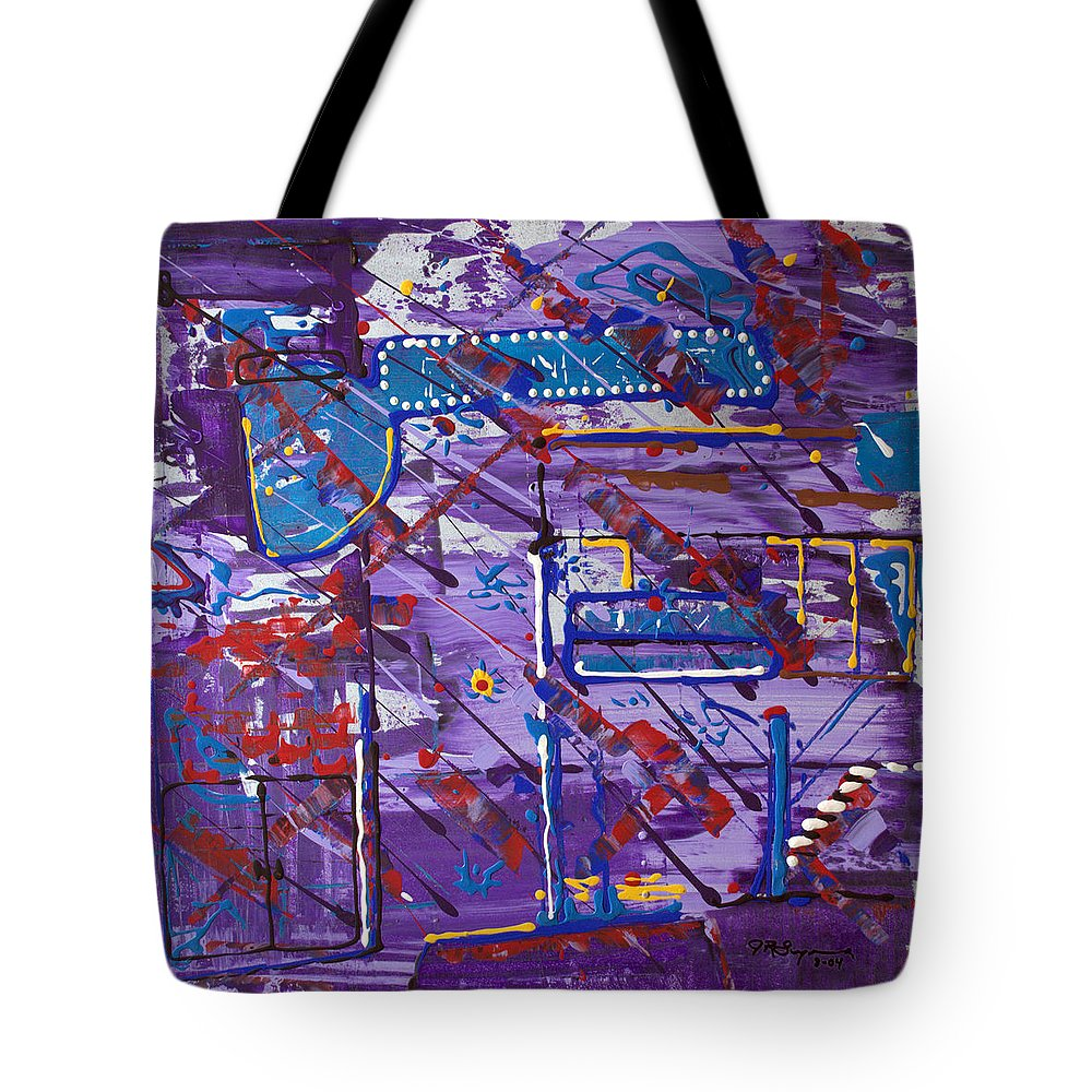Abstract Painting Tote Bag featuring the painting Nightlife Lights by J R Seymour