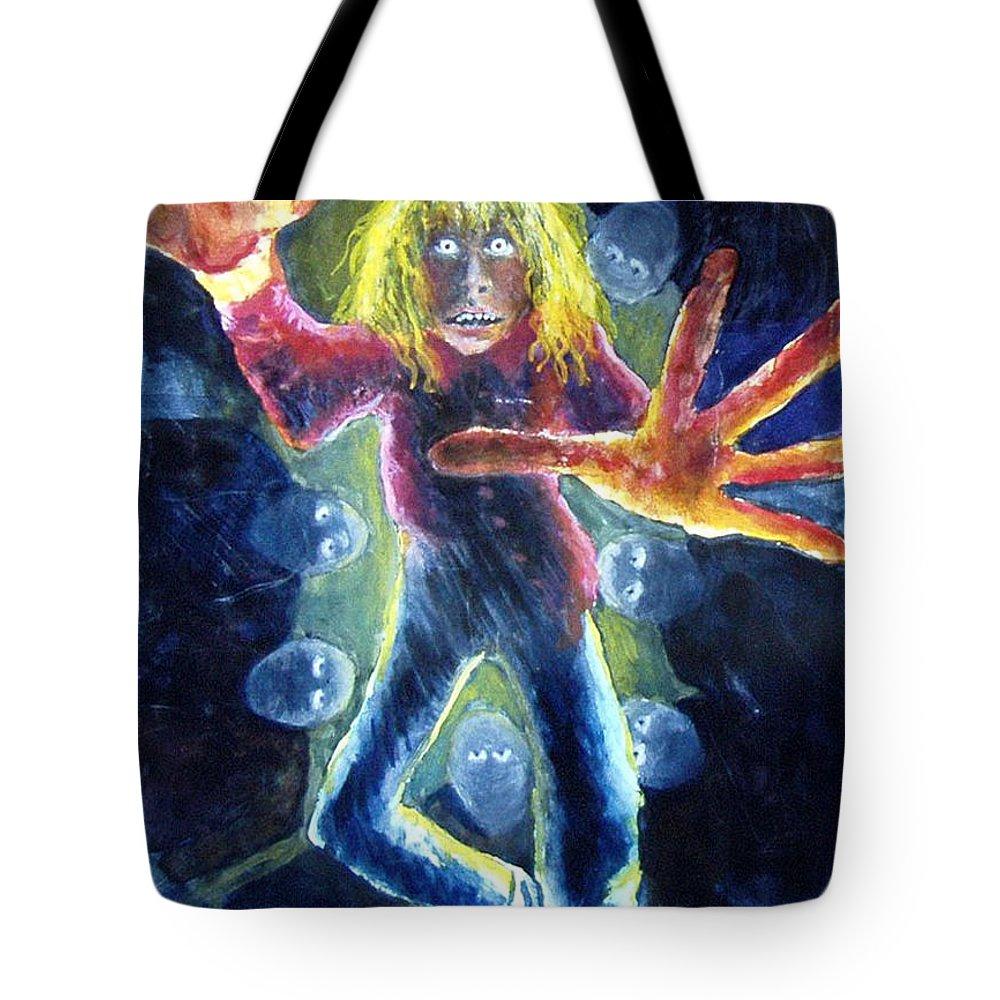 Nightmare Tote Bag featuring the painting Nightmare by Nancy Mueller