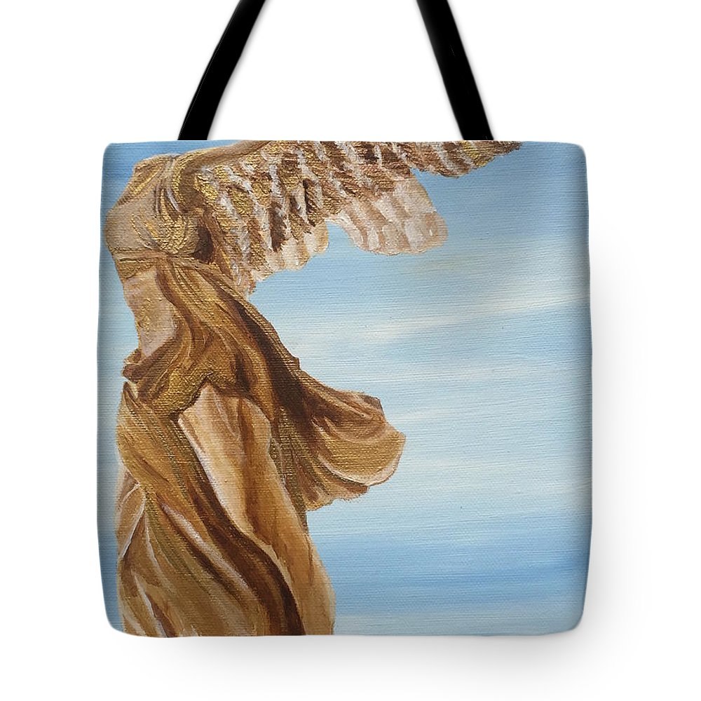 Nike Goddess Of Victory Tote Bag featuring the painting Nike Goddess Of Victory by Ashley Baldwin