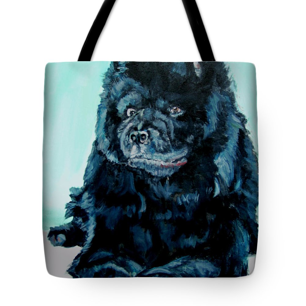 Dog Tote Bag featuring the painting Nikki The Chow by Bryan Bustard