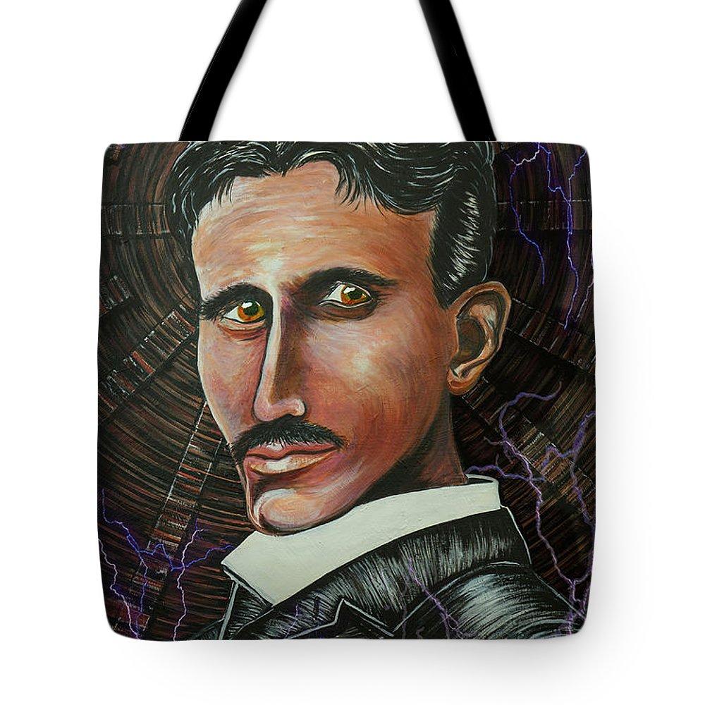Nikola Tesla Tote Bag featuring the painting Nikola Tesla by Doug LaRue