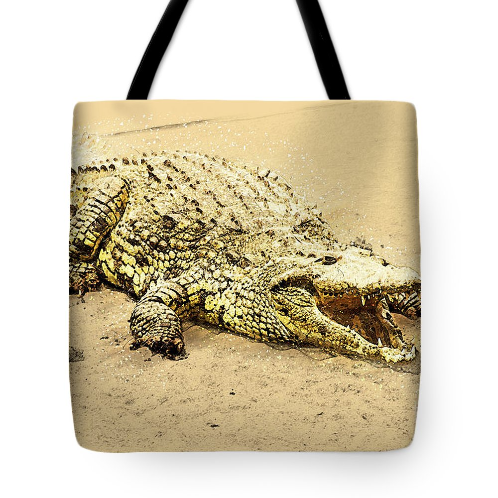 Nile River Tote Bag featuring the photograph Nile River Crocodile by Humorous Quotes