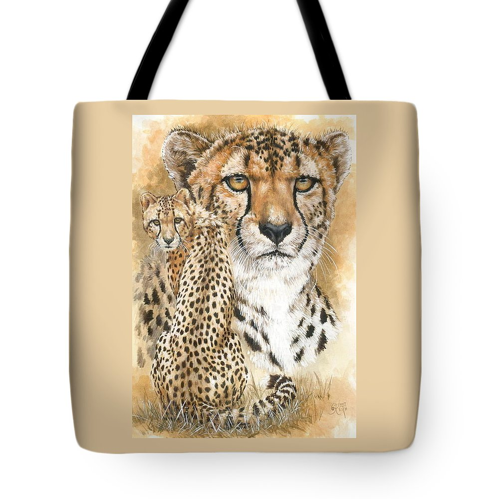 Cheetah Tote Bag featuring the mixed media Nimble by Barbara Keith