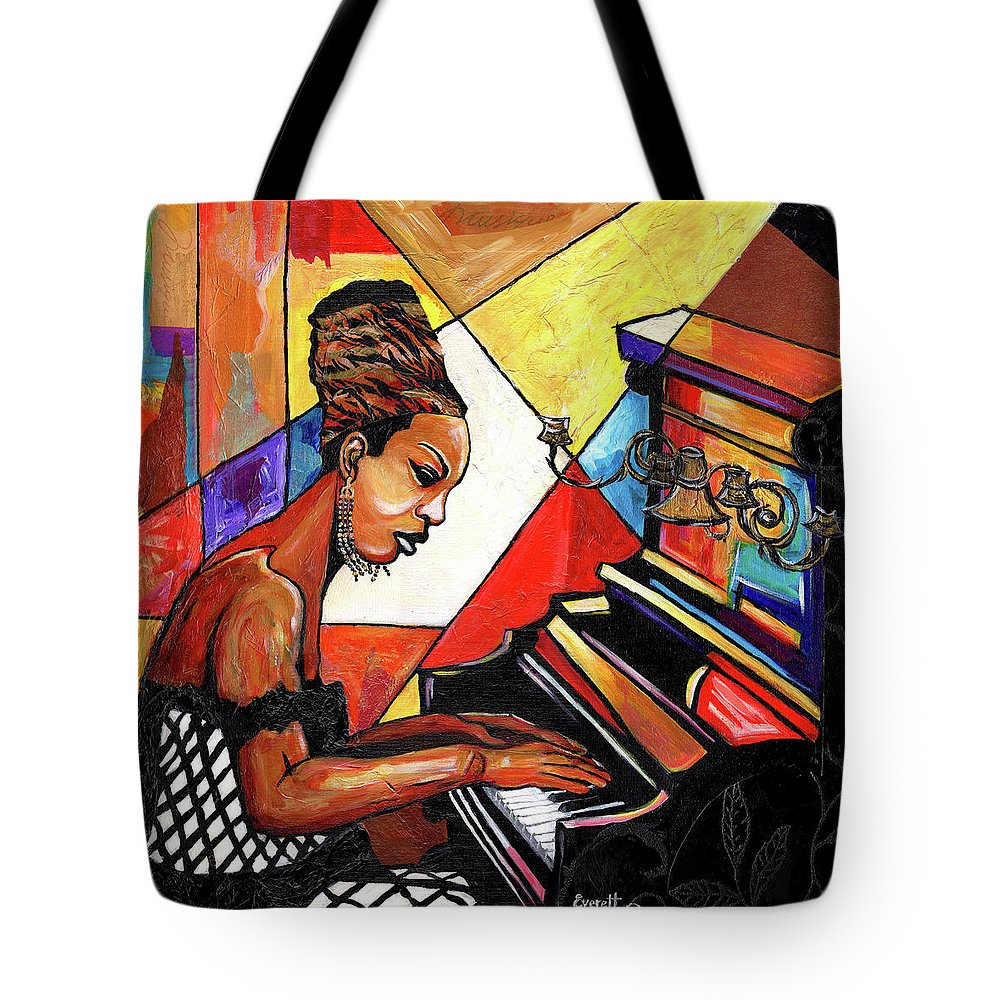 Everett Spruill Tote Bag featuring the mixed media Nina Simone by Everett Spruill