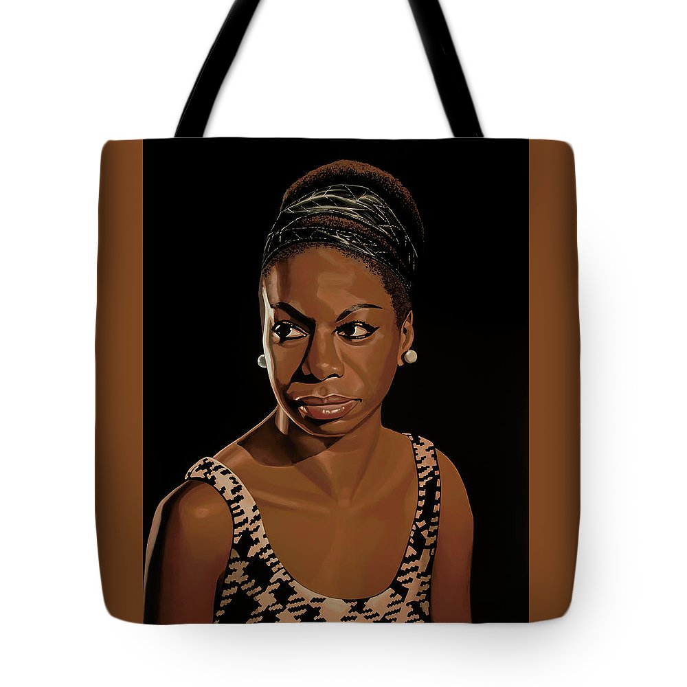 Nina Simone Tote Bag featuring the painting Nina Simone Painting 2 by Paul Meijering