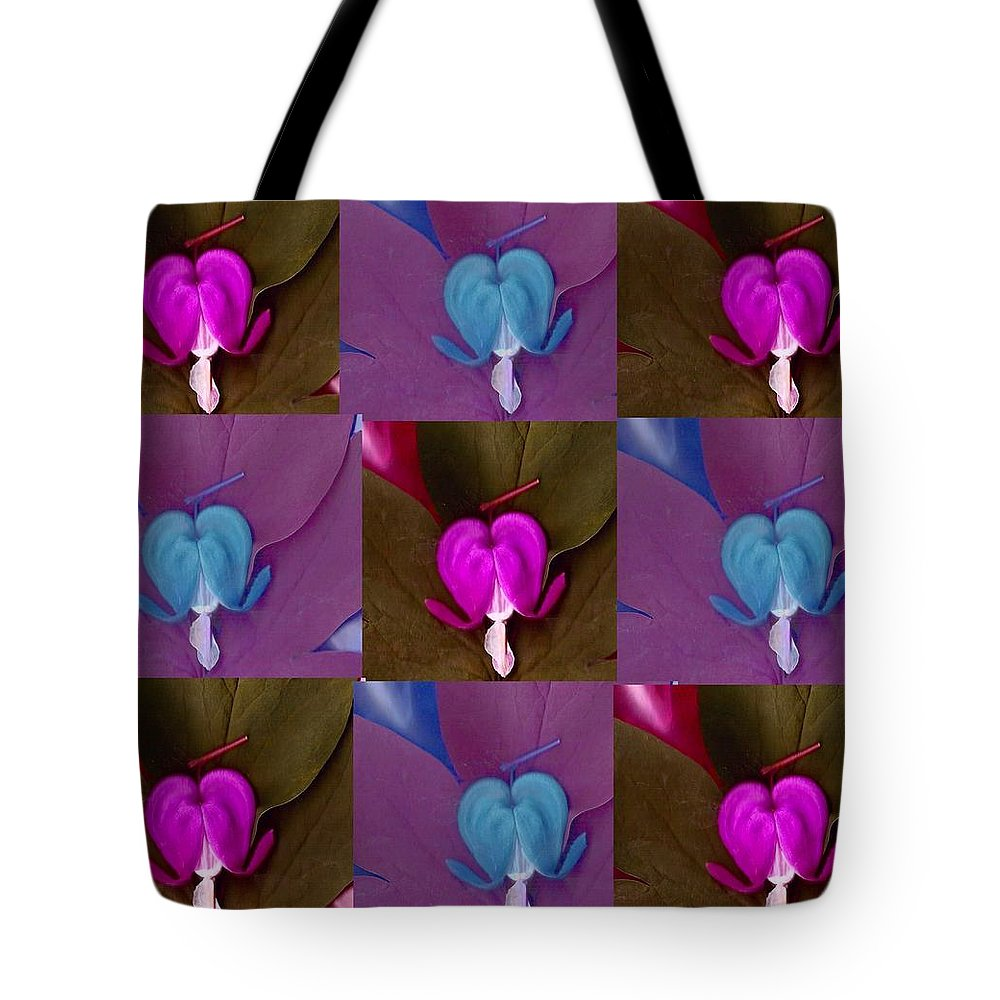 Bleedinghearts Tote Bag featuring the mixed media Nine Piece Of Popart by Pepita Selles