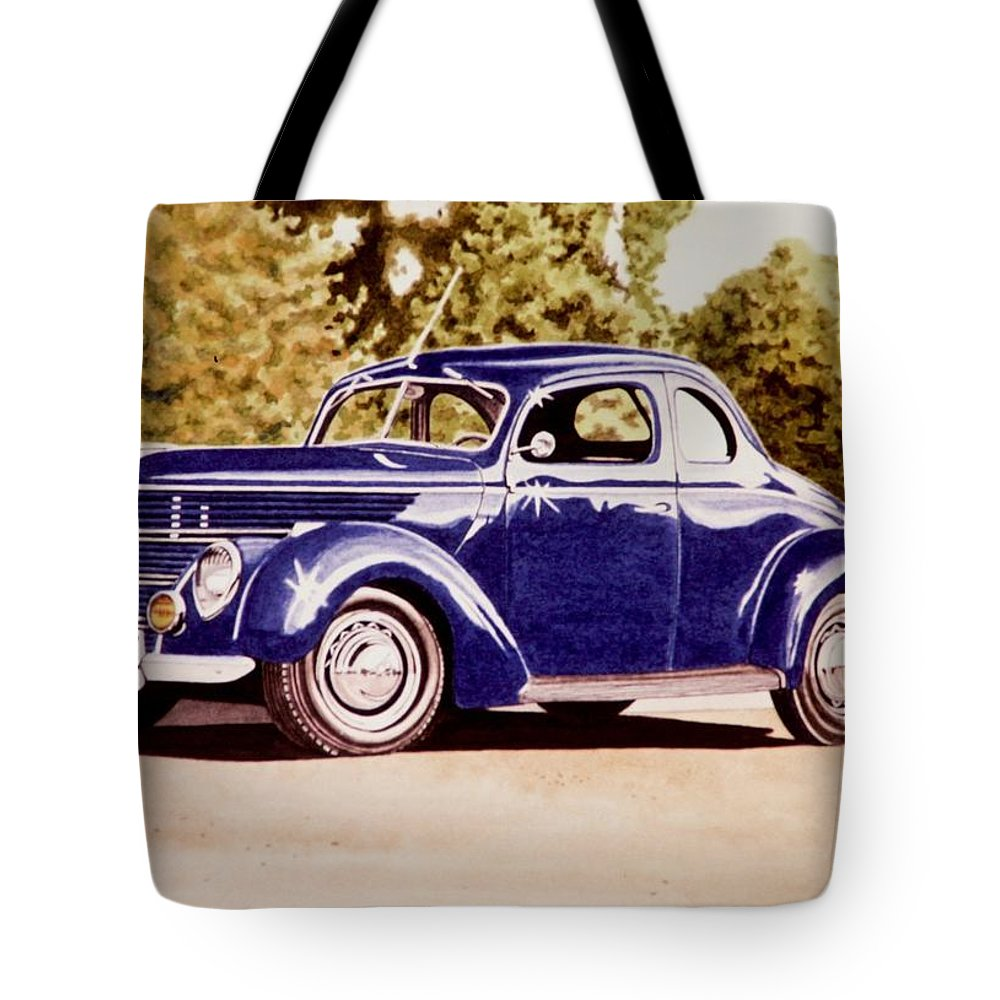 Car Tote Bag featuring the painting Nineteen Thirty Eight Ford Coupe by John Houseman