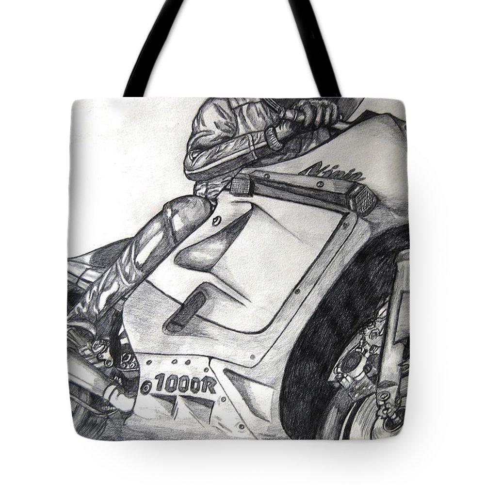 Ninja Tote Bag featuring the mixed media Ninja by Angela Murray