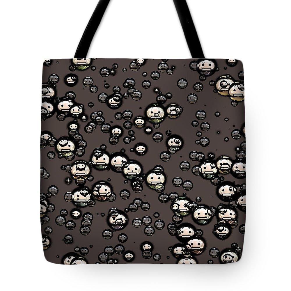 Ninja Tote Bag featuring the digital art Ninja Faces by Miroslav Nemecek