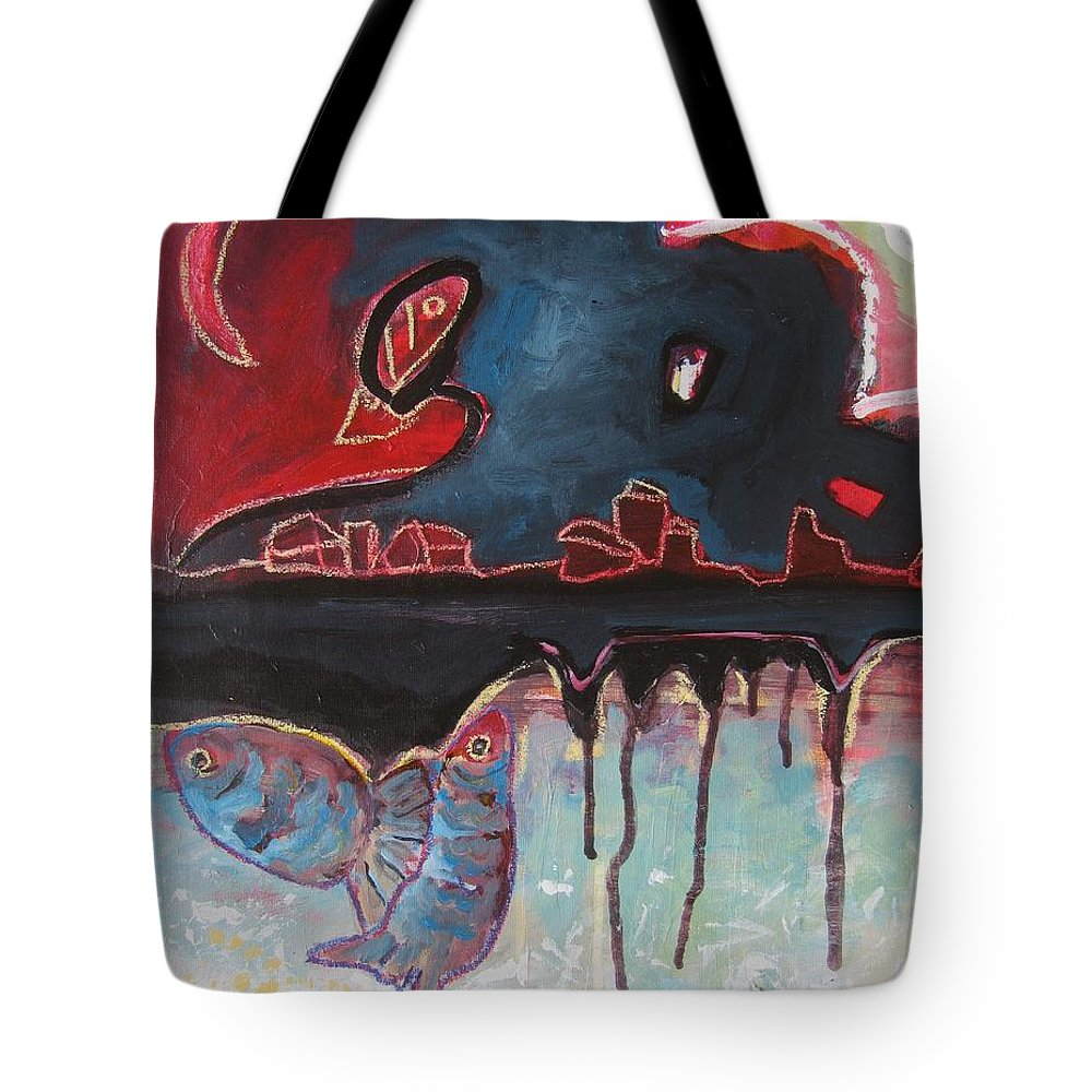 Abstract Paintings Tote Bag featuring the painting Nipper by Seon-Jeong Kim