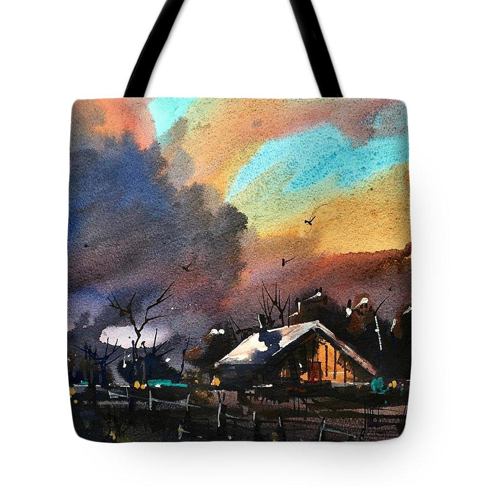Niwot Boulder Colorado Front Range Landscape Watercolor Tote Bag featuring the painting Niwot Colorado 2 by Ugljesa Janjic