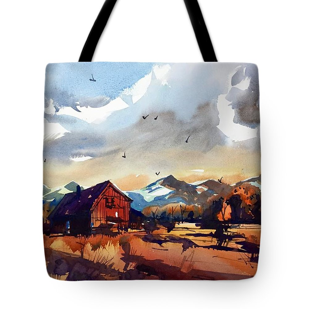 Niwot Boulder Colorado Front Range Landscape Watercolor Tote Bag featuring the painting Niwot Colorado 3 by Ugljesa Janjic