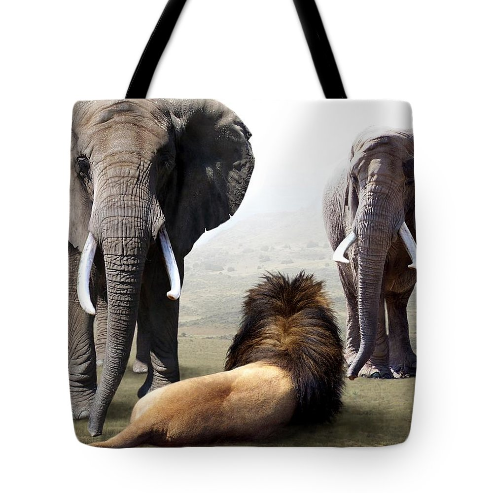 Elephants Tote Bag featuring the digital art No Fear by Bill Stephens
