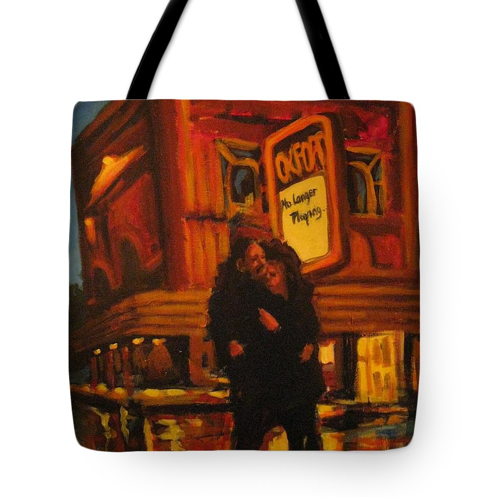 Wet Streets Tote Bag featuring the painting No Longer Playing by John Malone