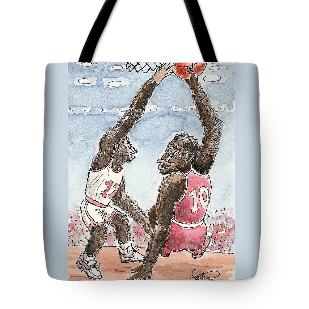 Basketbal Tote Bag featuring the painting No No No by George I Perez