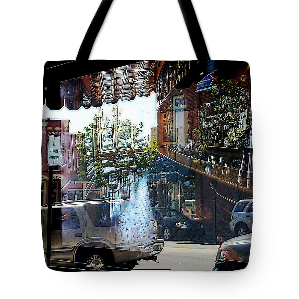 Blue Tote Bag featuring the photograph No Parking In The Bar by David Rothbart