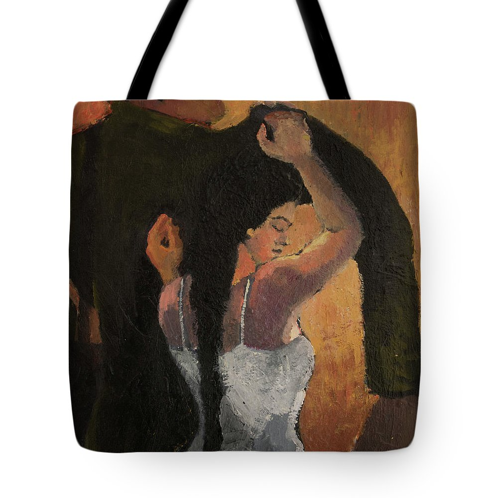 Women In White Dress Tote Bag featuring the painting No Pass by Craig Newland
