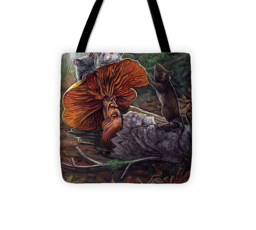 Mushroom Tote Bag featuring the painting No Recourse by Carol Phillips
