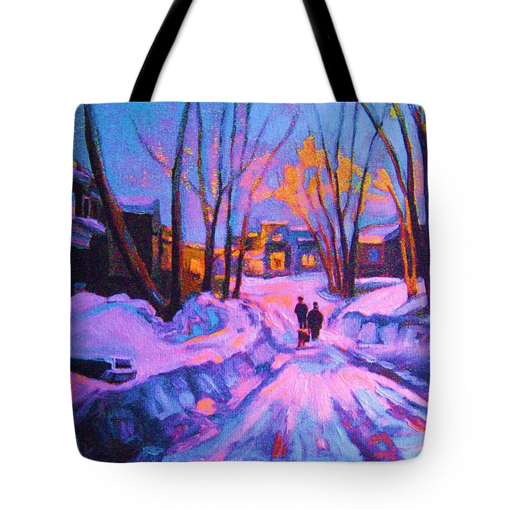 Winterscene Tote Bag featuring the painting No Sidewalks by Carole Spandau