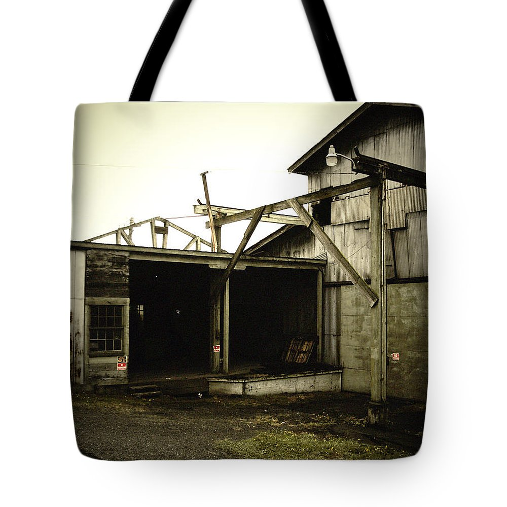 Warehouse Tote Bag featuring the photograph No Trespassing by Tim Nyberg