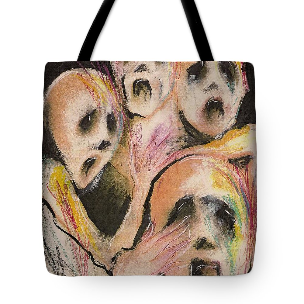 War Cry Tears Horror Fear Darkness Tote Bag featuring the mixed media No Words by Veronica Jackson